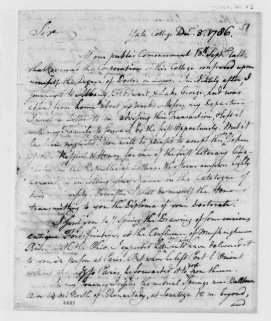 "Ezra Stiles to Thomas Jefferson, December 8, 1786, with Drawing of Saratoga ""Medical"" Spring"