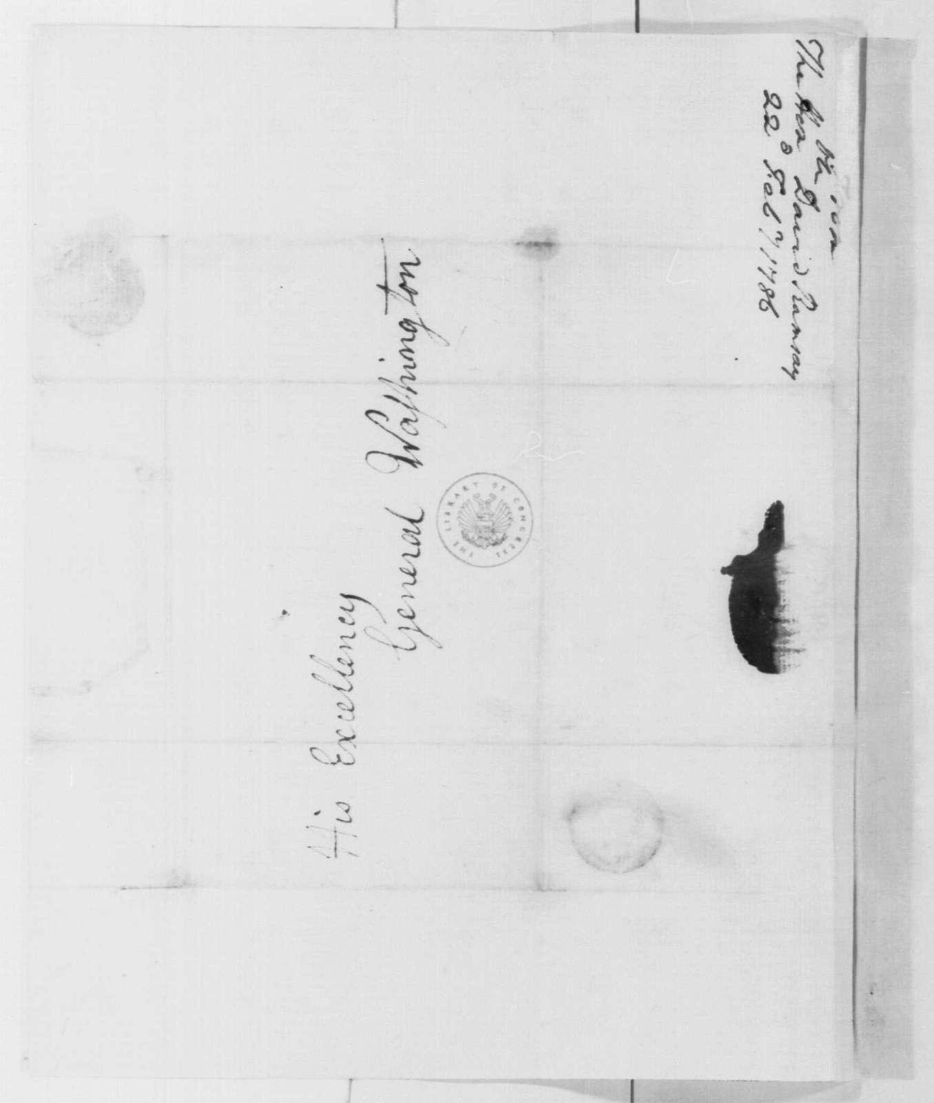 George Washington Papers, Series 4, General Correspondence: David Ramsay to George Washington, February 22, 1786