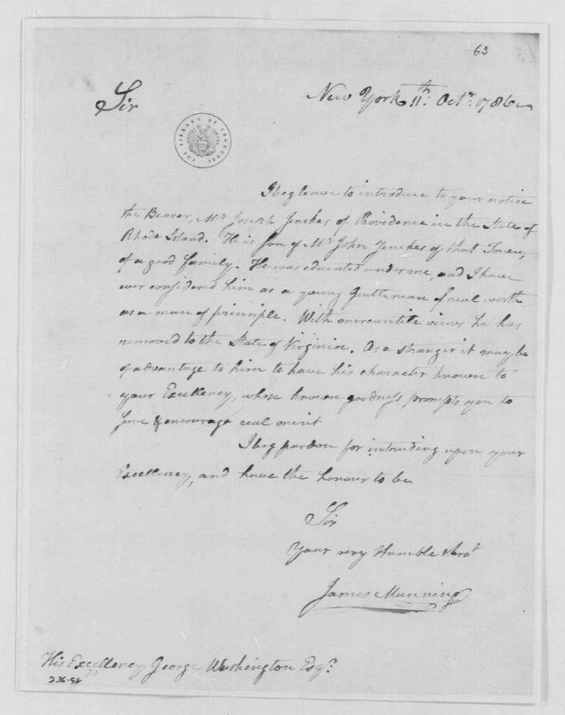 George Washington Papers, Series 4, General Correspondence: James Manning to George Washington, October 11, 1786