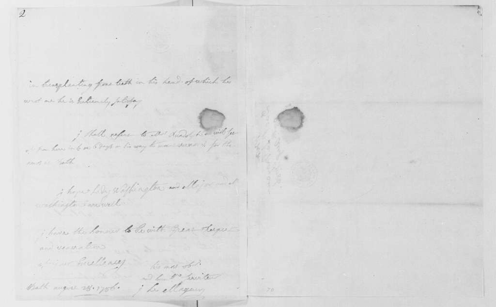 George Washington Papers, Series 4, General Correspondence: Jean P. Le Mayeur to George Washington, August 28, 1786