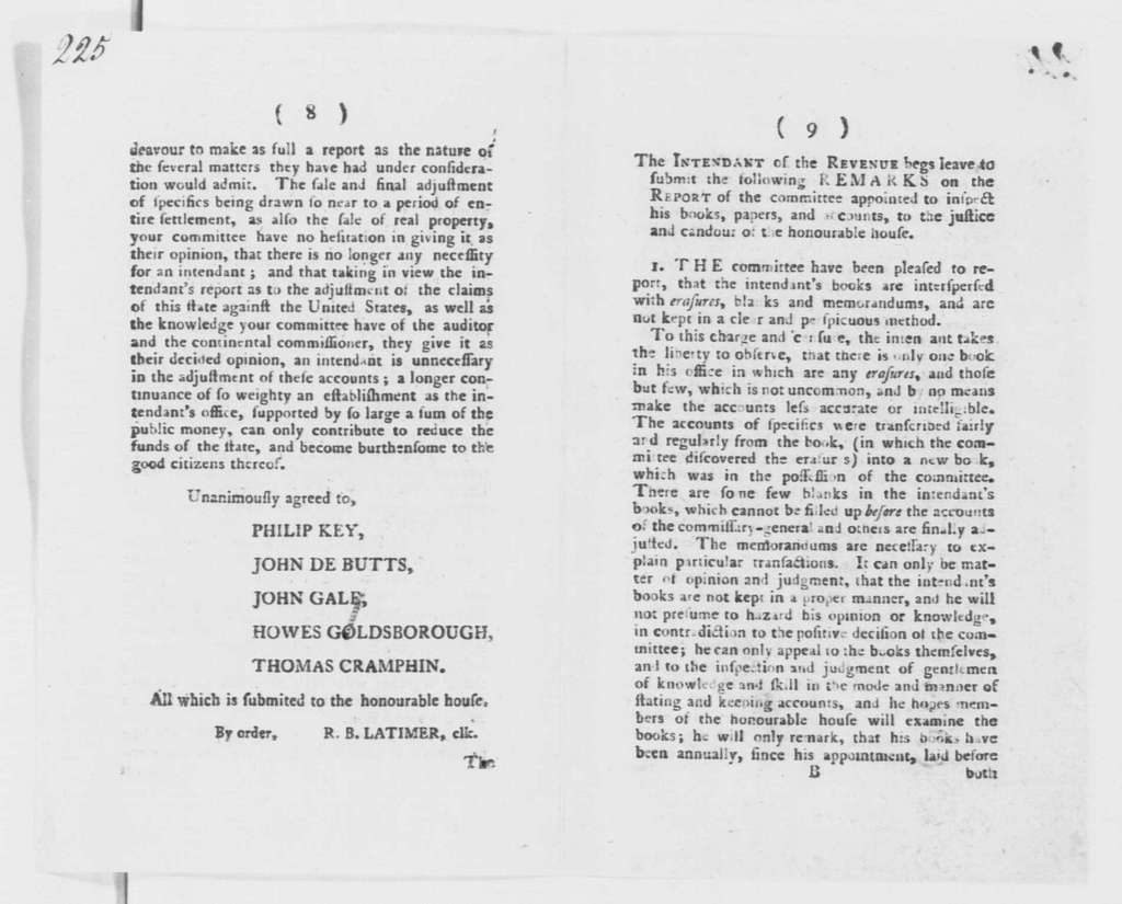 George Washington Papers, Series 4, General Correspondence: Maryland Legislature, May 1786, Report on the Accounts of the Intendant of the Revenue
