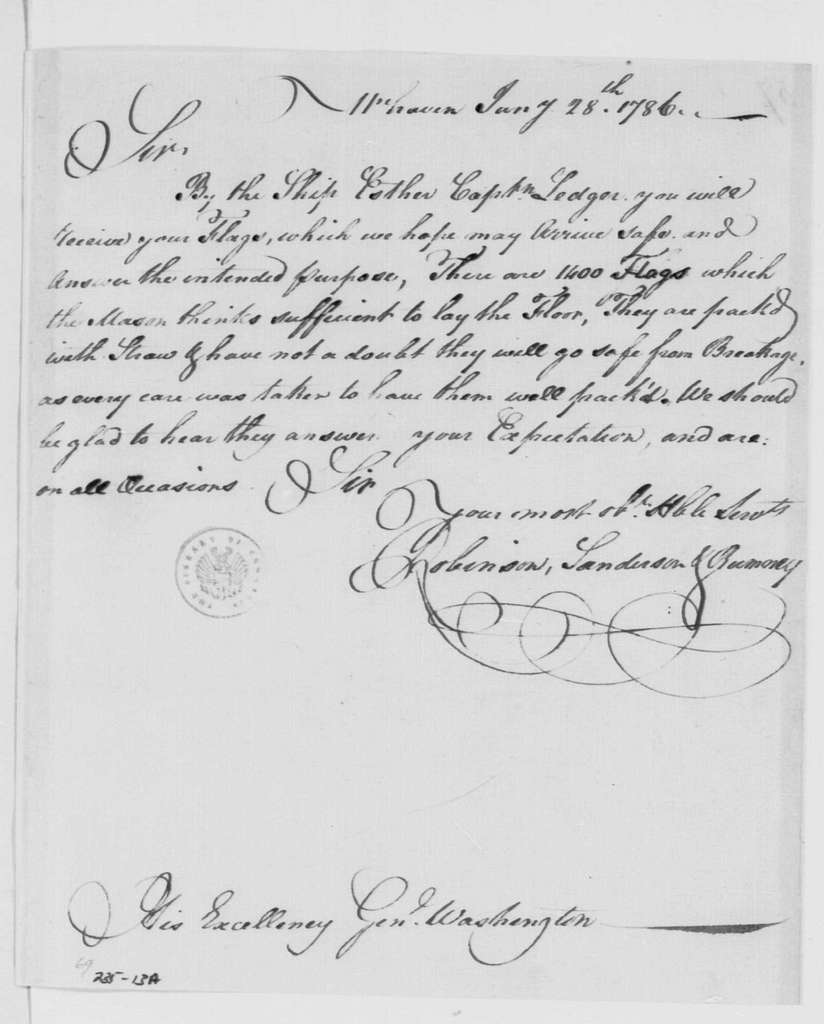 George Washington Papers, Series 4, General Correspondence: Sanderson Robinson to George Washington, January 28, 1786, with Invoices