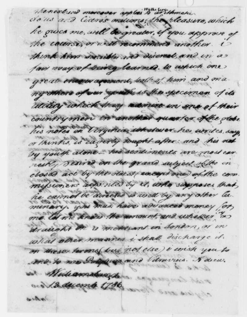 George Wythe to Thomas Jefferson, December 13, 1786