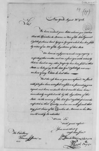 Georgia Delegates in Congress to Thomas Jefferson, August 21, 1786, Claim by Chevalier de Mezieres on Oglethorpe Estate in Georgia