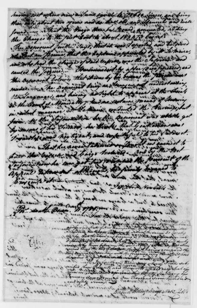 Ichabod Nichols, December 4, 1786, Deposition on Transfer of the Neptune (ship)