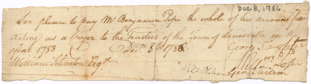 Invoice from George Slaughter to William Johnston