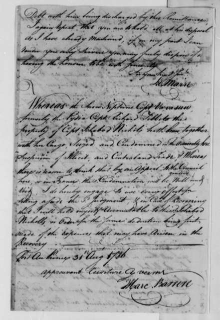 J. Marc Barrere, August 31, 1786, Declaration on Seizure of the Neptune (ship) in Port au Prince