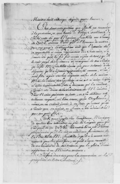 Jacques Finck to Benjamin Franklin, December 1786, Petition to Pay Bill for Housekeeping Expenses; with Copy of Contract Arranged by William Temple Franklin; in French