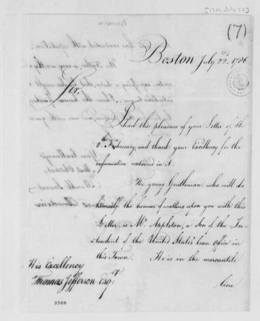 James Bowdoin to Thomas Jefferson, July 22, 1786