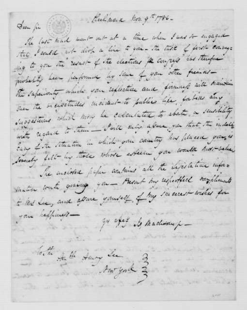 James Madison to Henry Lee, November 9, 1786.