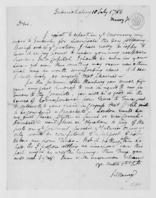 James Maury to James Madison, July 10, 1786.