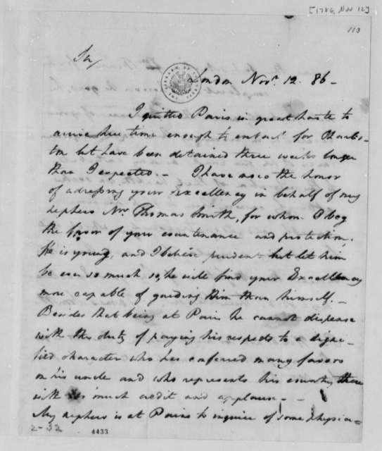 James Smith to Thomas Jefferson, November 12, 1786