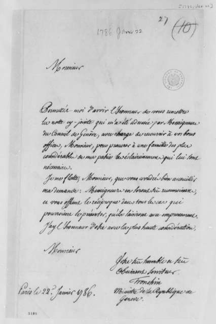 Jean-Armand Tronchin to Thomas Jefferson, January 22, 1786, in French