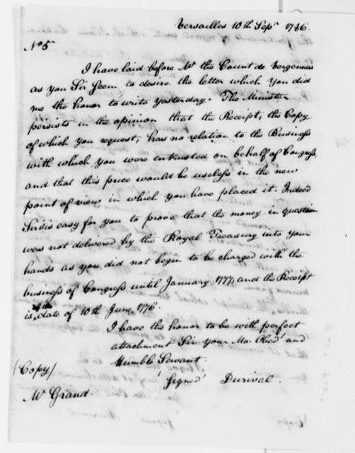 Jean Durival to Ferdinand Grand, September 10, 1786