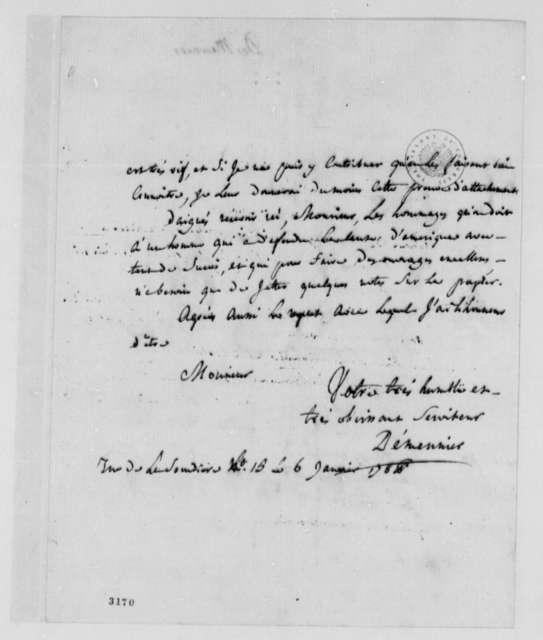 Jean Nicolas Demeunier to Thomas Jefferson, January 6, 1786, in French