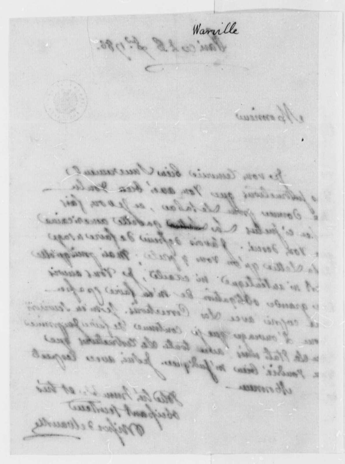 Jean Plumard Brissot de Warville to Thomas Jefferson, December 26, 1786, in French