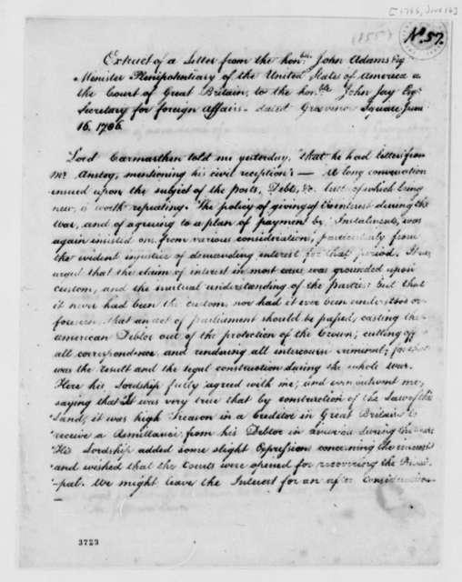 John Adams to John Jay, June 16, 1786, Extract