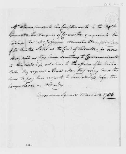 John Adams to Marquis de Carmarthen, March 13, 1786