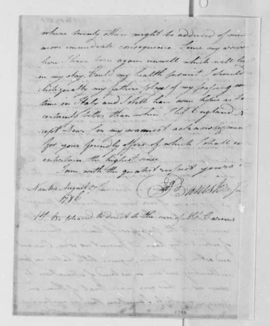 John Banister Jr. to Thomas Jefferson, August 27, 1786
