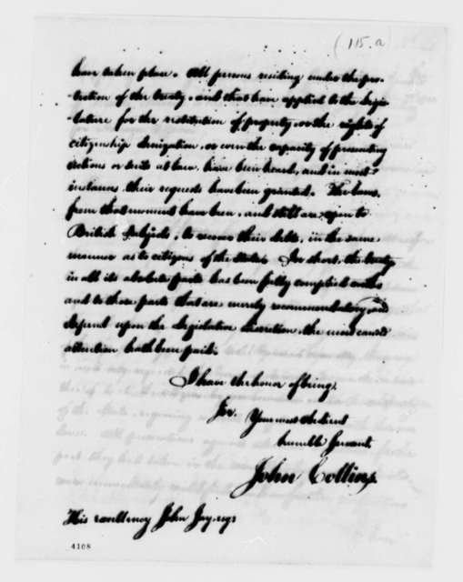 John Collins to John Jay, September 4, 1786
