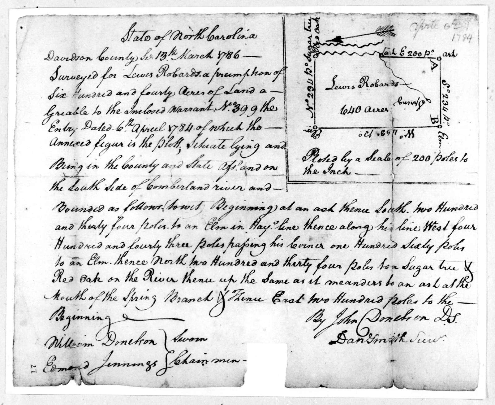 John Donelson to Lewis Robards, March 13, 1786