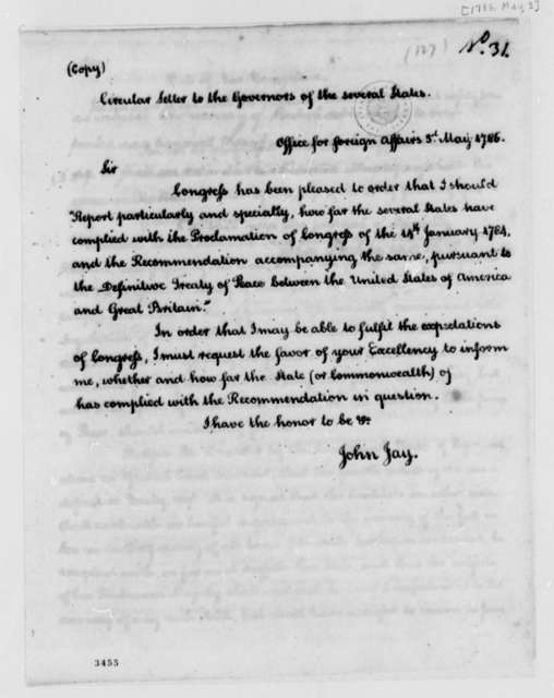 John Jay to Governors, May 3, 1786, Circular Letter