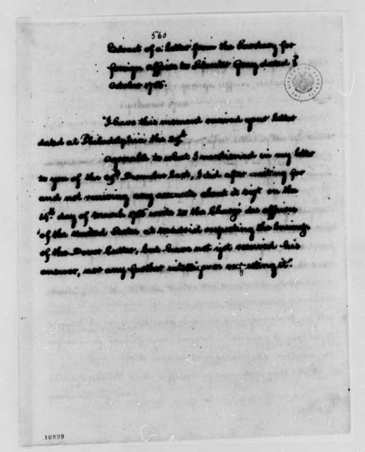 John Jay to Sylvester Gray, October 3, 1786, Extract