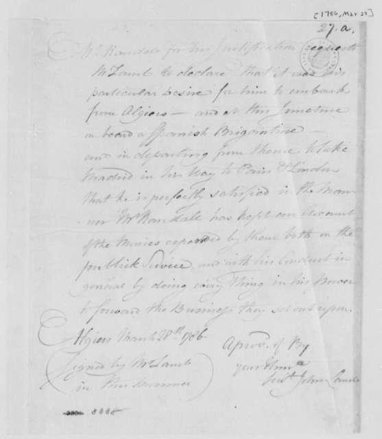 John Lamb, March 28, 1786, Certificate of Official Proceedings on Paul R. Randall