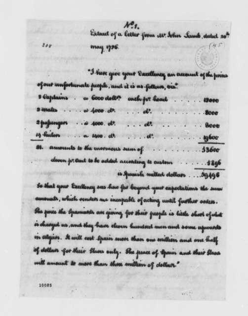 John Lamb, May 20, 1786, Extract of Letter