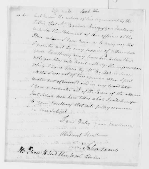 John Lamb to Thomas Jefferson, June 5, 1786