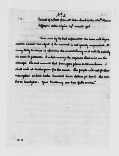 John Lamb to Thomas Jefferson, March 29, 1786, Extract