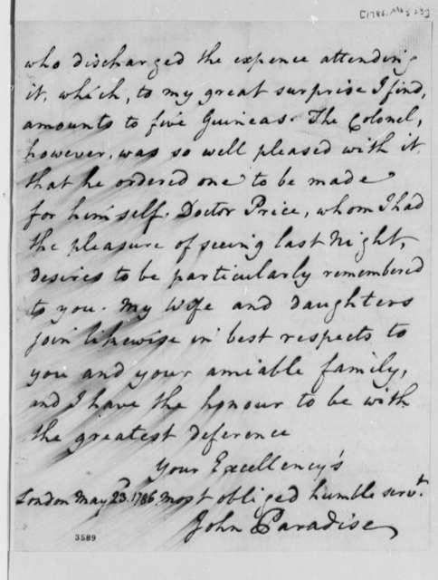 John Paradise to Thomas Jefferson, May 23, 1786