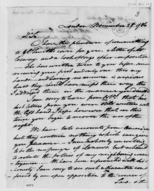 John Trumbull to Thomas Jefferson, November 29, 1786