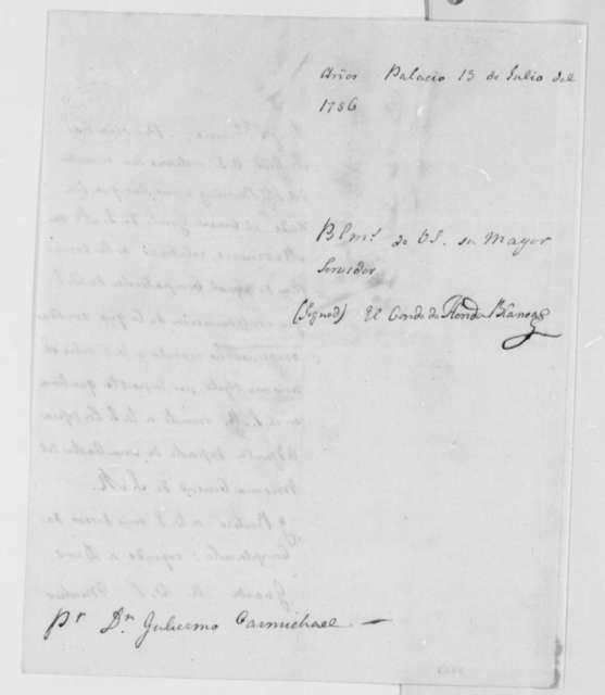 Jose Monino, Conde de Floridablanca to William Carmichael, July 13, 1786