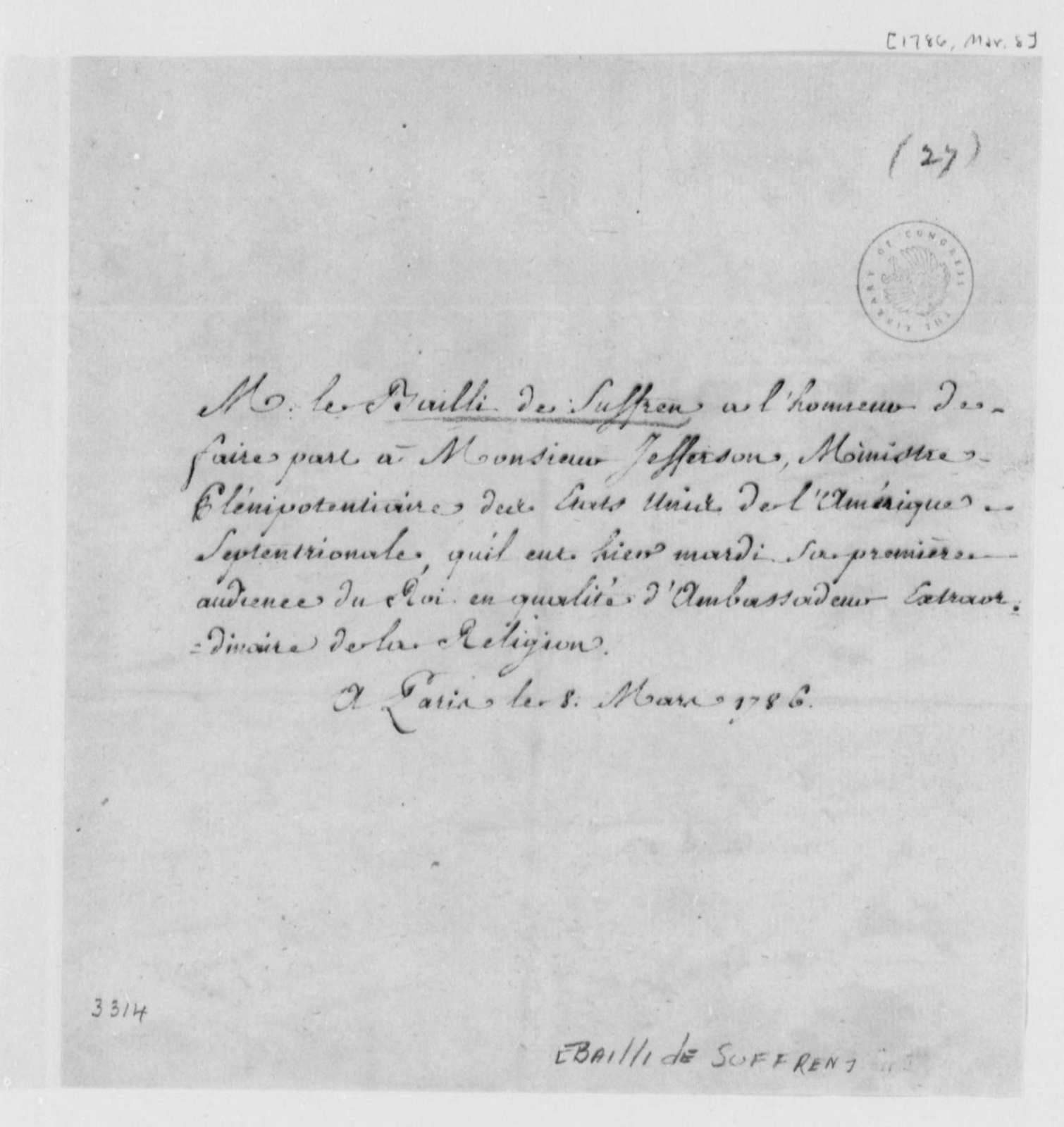 le Bailli de Suffren to Thomas Jefferson, March 8, 1786, in French