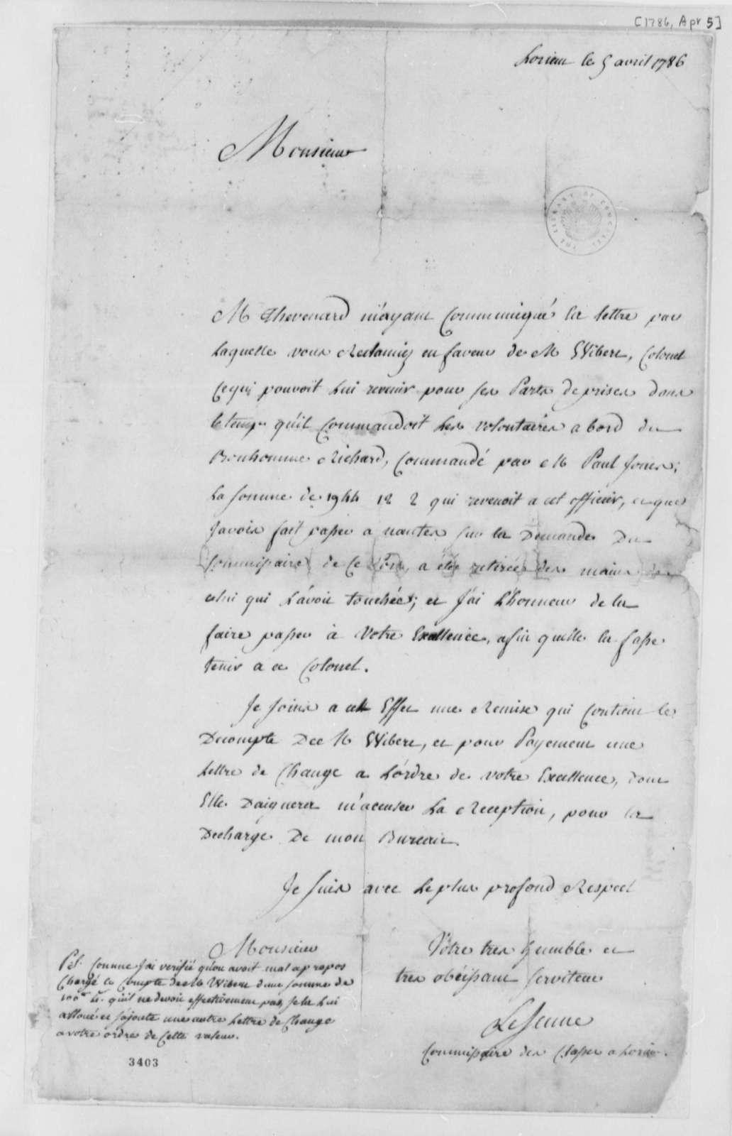 Le Jeune to Thomas Jefferson, April 5, 1786, in French