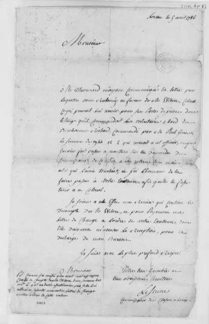 Le Jeune to Thomas Jefferson, April 5, 1786, in French