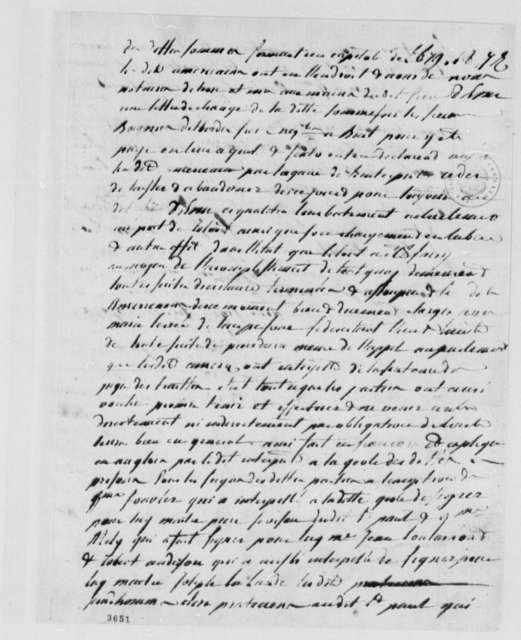 Lister Asquith, June 3, 1786, Affidavit for Maritime Law Case; William & Catherine (ship); in French