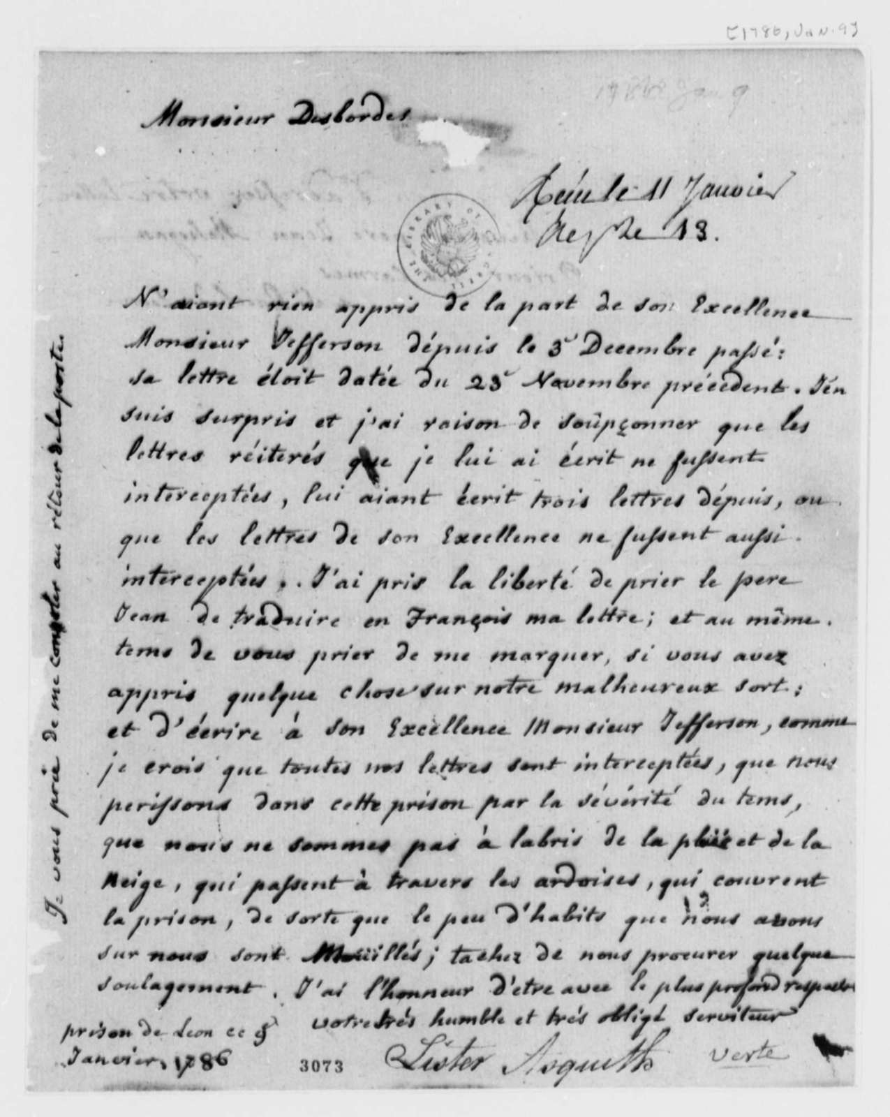 Lister Asquith to Borgnis Desbordes, Freres, January 9, 1786, Lister Asquith's Maritime Law Case; William & Catherine (ship); in French