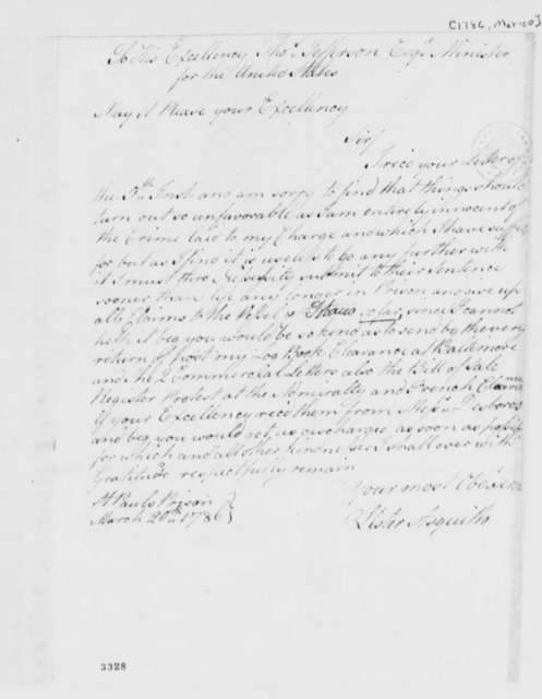 Lister Asquith to Thomas Jefferson, March 20, 1786, Lister Asquith's Maritime Law Case; William & Catherine (ship)