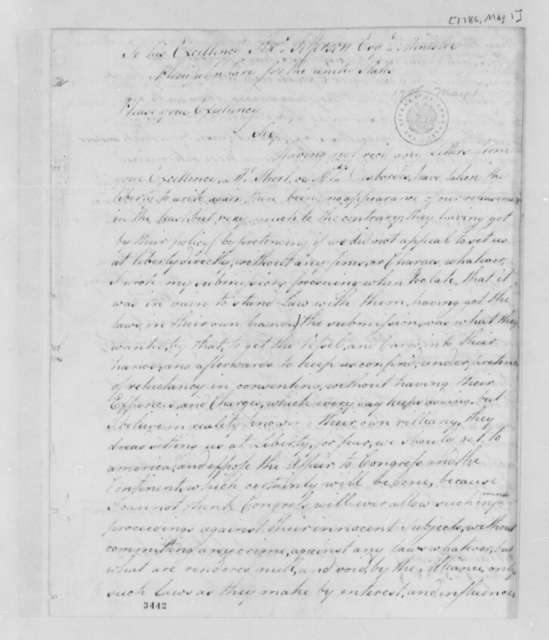 Lister Asquith to Thomas Jefferson, May 1, 1786, Lister Asquith's Maritime Law Case; William & Catherine (ship)