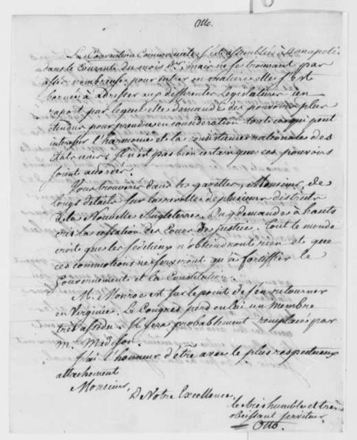 Louis Guillaume Otto to Thomas Jefferson, October 15, 1786, Consular Convention; in French