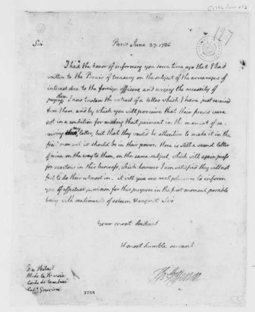 Louis le Beque du Portail, Chevalier Derford, et al to Thomas Jefferson, June 27, 1786