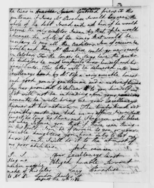 Lucy Ludwell Paradise to Thomas Jefferson, August 15, 1786