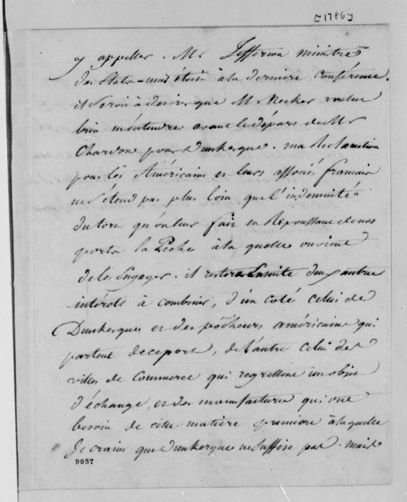 Marie Joseph Paul Yves Roch Gilbert du Motier, Marquis de Lafayette to Thomas Jefferson, 1786-87, with Account for Wine and Copying Machines; in French