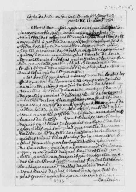 Marquis de Chartier de Lotbiniere to John Jay, March 11, 1786