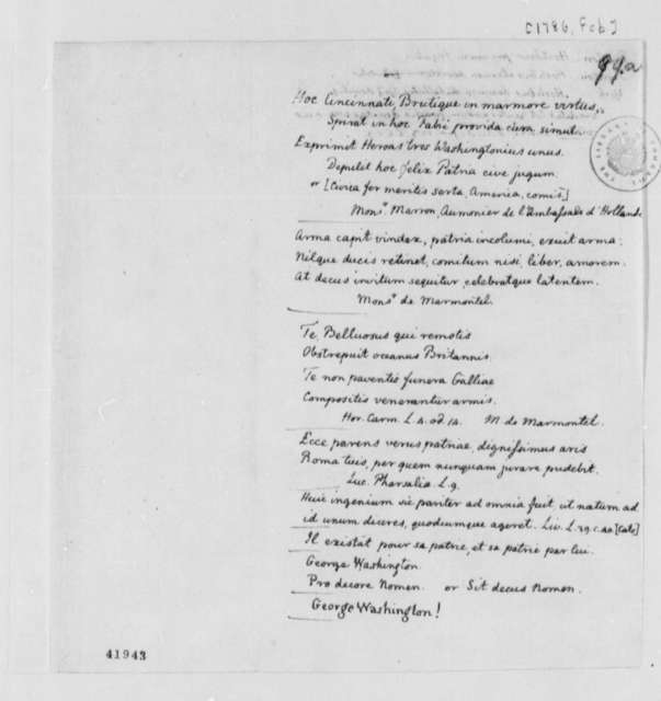 Marron, de Marmontel, et al, February 1786, Proposed Inscriptions for Bust of George Washington; in French and Latin