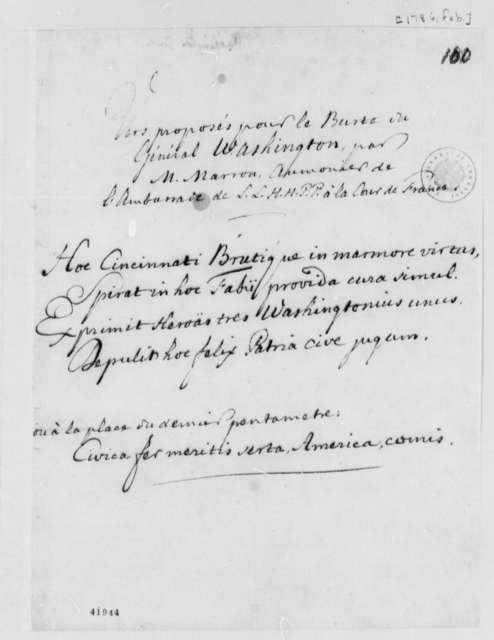 Marron, February 1786, Proposed Inscriptions for Bust of George Washington; in French and Latin