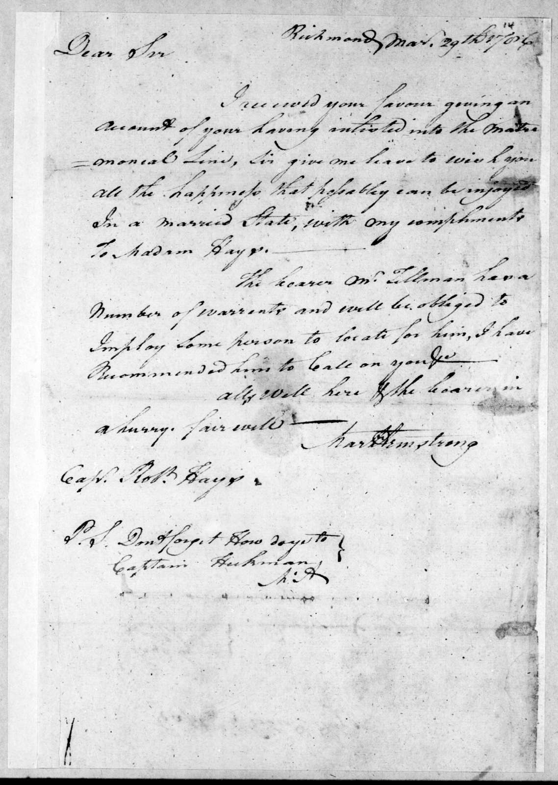 Martin Armstrong to Robert Hays, March 29, 1786