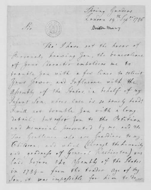 Mary Bristow to James Madison, September 19, 1786.
